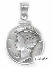 US Mercury Dime Sterling Silver Coin Edge Coin Pendant