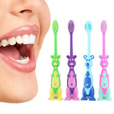 Kids Cartoon Toothbrush Children Suction Stand up Toddler Fun Kid Toothbrush E2X