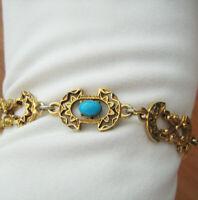 Vintage signed Florenza decorative faux turquoise link Bracelet