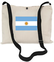 Argentinian Flag Canvas Musette Bag 40x30cm, 150cm Long black adjustable strap