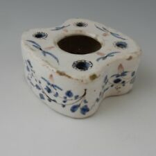 Tin Glazed Inkwell in Tones of Blue and Manganese.