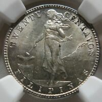 PHILIPPINES USA Filipinas 20 centavos 1917 S NGC MS 62 UNC