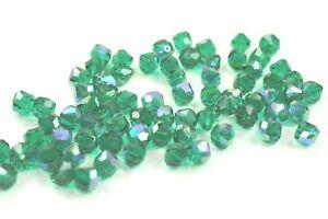 72 Vintage Rare Swarovski Art.39/5300 8mm Emerald AB Crystal Beads -V4615