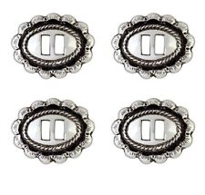 Set of 4 Antiqued Silver Rio Grande Slotted Concho 1″ X 3/4""