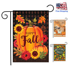 Double Sided Happy Fall Garden Flag Pumpkins Sunflow Welcome Outdoor Yard Decor
