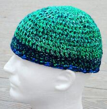 Vibrant Green & Blue Crocheted Scull Cap - Smaller Size - Handmade by Michaela