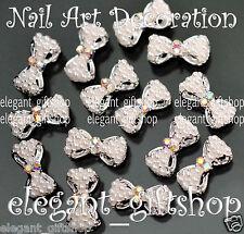 10pcs 3D Nail Art Decoration Alloy Jewelr Pearl Bow Glitter Rhinestones #EA065