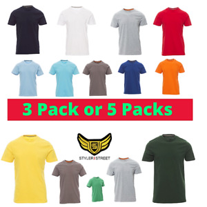 Men's Plain soft 3/5 T Shirts PACK short sleeve 100% Cotton-Amazing Sale-UK