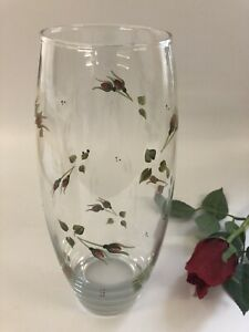 Individually Hand Painted Rosebud Large barrel Vase