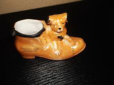 RARE VINTAGE ORANGE LUSTRE BONZO DOG SOUVENIR POSY VASE NEW BRIGHTON BLACK BOW
