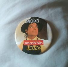 MICHAEL JACKSON SMASH HITS LARGE PIN BADGE c 1987 VERY GOOD CONDITION JACKSONS