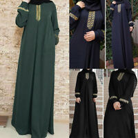 Women Long Sleeve Abaya Jilbab Muslim Maxi Dress Casual Kaftan Loose Dress P