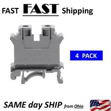 4PCS UK-10N DIN Rail Mount Guide Terminal Block 800V 76A 10mm2 Cable Gray