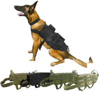 Dog Tactical Vest K9 Hunting Training Molle Harness OR 3 Detachable Pouch Bag