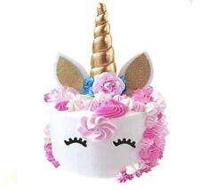 Unicorn Cake Topper Handmade Horn Ears Flowers