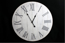 Wall Clock New England 50cm Silver Grey & White SIL NEW (S)