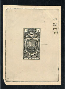 1920s Ecuador Proof / Small Die - 10 Centavos Telegraph Fiscal Tax Stamp