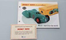 DINKY TOYS ATLAS Fiche Fascicule Certificat réf 23D Auto-Union des Records