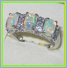 Ethiopian Welo Opal Tanzanite  Ring Platinum over Sterling Silver 925 sz 8
