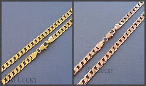 Mens Womens Rose / Yellow 14K Gold Filled  Curb Cuban Link Chain Necklace N10