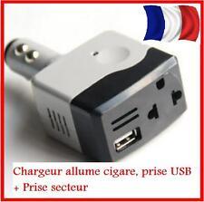 MICRO MINI CHARGEUR VOITURE ALLUME CIGARE USB  IPHONE SECTEUR  CONVERTISSEUR