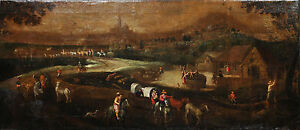 Antique Rare 17th Century Oil Painting on Canvas : Panorama of Country