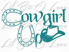 COWGIRL UP WITH HORSESHOES & HAT VINYL DECAL STICKER CAR TRUCK AUTO  COUNTRY