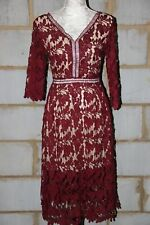 Zibi London Ladies Vintage Crochet Lace dress in Burgundy UK 8/EU 36/US 4