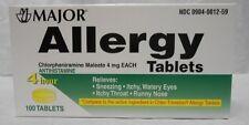 5 Pack Major Allergy Chlorpheniramine Maleate 4mg 100 Tablets Each