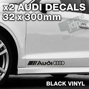 AUDI 2 x DOOR / SIDE SKIRT DECALS VINYL STICKERS - For all Models - BLACK