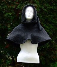 Damen Herren Gewandung Mittelalter Reenactment LARP Gugel Wolle anthrazit