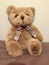 """AURORA SANDY TEDDY BEAR WITH CHECK BOW AND """"A"""" ON HIS FOOT  C1"""