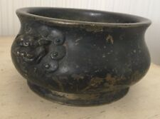 """Antique Heavy Chinese Bronze Censer Incense Bowl Kettle 7"""" X 3"""" Signed Old Asian"""