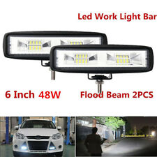 "2pcs 48W 6"" Flood Beam LED Work Light Bar Off road 4WD SUV UTE Truck Boat 4800LM"