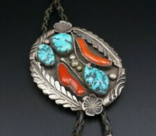 Silver Leaf Bolo Tie M922 Vintage Navajo Turquoise Red Coral Sterling