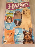32 Pets 3-D Effect Valentines Cards Tilt Image to Change Dogs and Cats 6 Designs