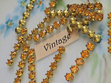 #1380BX VINTAGE Rhinestone Findings Stick PIECES Amber Yellow Gold Rhinestones