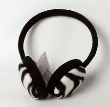 Fleece Earmuffs Earwarmers Black and White Zebra Pattern One Size