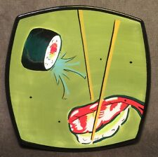 Clay Art Wasabi Hand Painted Stone Lite Sushi Decorative Plate