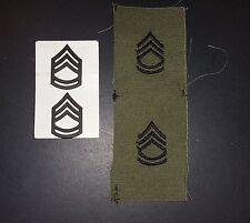 US ARMY RANK INSIGNIA SET/ RANK SGT E-7. SUBDUED PINBACK & CLOTH.