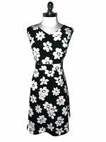 NINE WEST Plus Sz 18W Fit & Flare Dress Black Pink Floral Sleeveless Knee Length