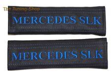 """2x pastillas de cubiertas de cinturón de seguridad de cuero """"Mercedes SLK"""" Bordado Azul Para Mercedes"""