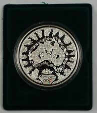 2000 Australia $5 Continent .999 Silver Proof 1oz Coin- Olympics W/ COA
