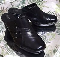 CLARKS BLACK LEATHER MULES SLIDES LOAFERS WORK DRESS HEELS SHOES WOMENS SZ 8 M