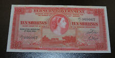 Nice Uncirculated 1957 Bermuda 10 Shillings Banknote Queen Elizabeth II