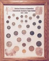 NICE COINS ! 20TH CENTURY TYPE  COLLECTOR SET IN DISPLAY WALL PICTURE FRAME  #1