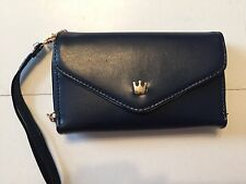 Brand New! Navy Blue CROWN SMART POUCH Small Wallet-Purse-Cases For iPhone 4/4S.