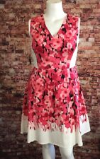 NYC Pink Ivory Black Geometric V-Neck Fit and Flare Dress Size 12