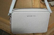 Michael Kors CEMENT Jet Set Travel Large Perforated Saffiano Crossbody NWT $178