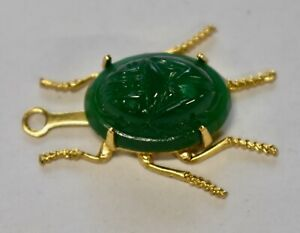 VINTAGE 1 RAW BRASS SCARAB BEETLE INSECT PENDANT BEAD • JADE COLOR SCARAB GLASS